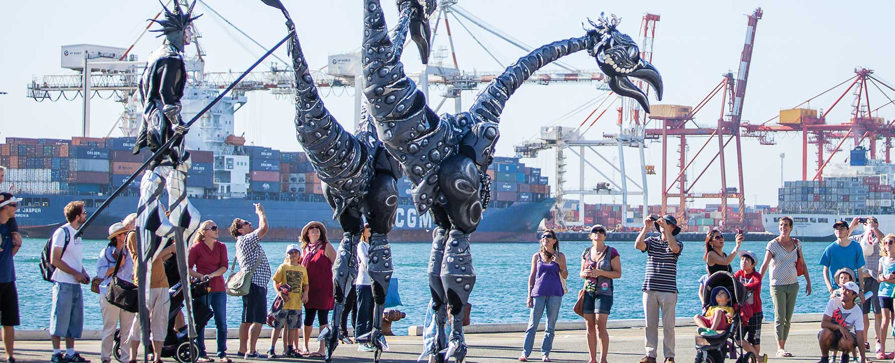 Giant puppets preform on Fremantle docks
